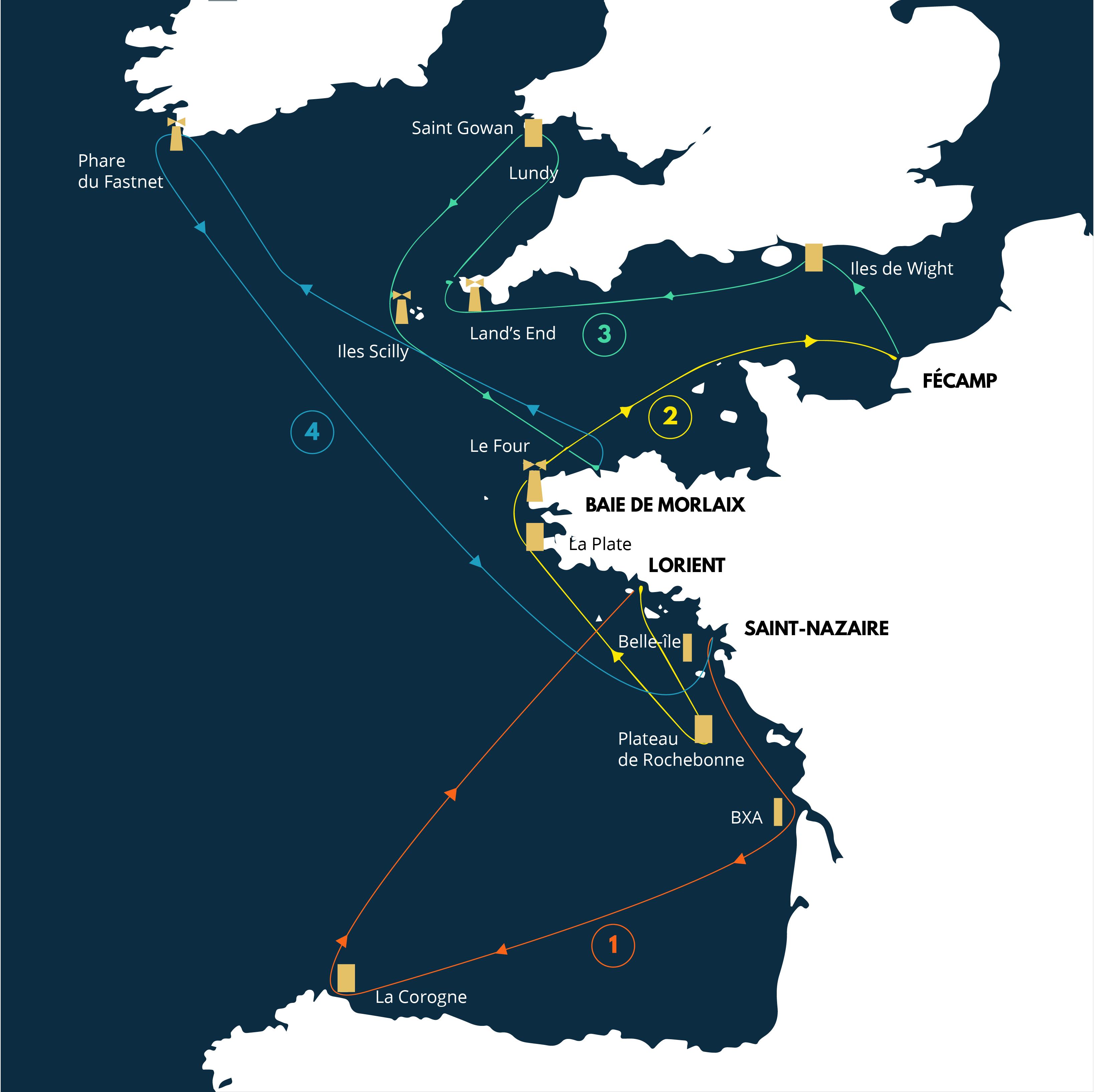 carte le parcours solitaire du Figaro 2021